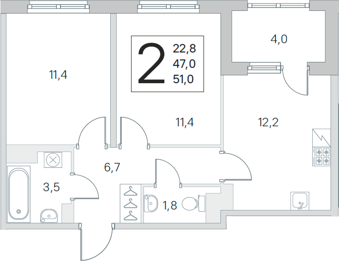 3Е-к.кв, 47 м²