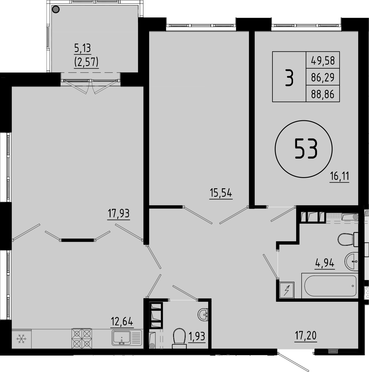 3-к.кв, 91.42 м²