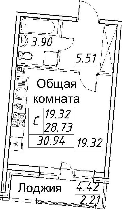 Студия, 30.94 м²