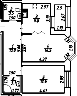 2-к.кв, 55.45 м², 2 этаж