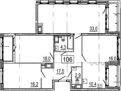 4Е-к.кв, 121.8 м², 10 этаж
