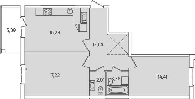3Е-к.кв, 67.9 м², от 2 этажа