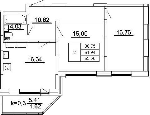 3-к.кв (евро), 67.34 м²