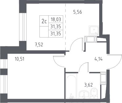 2Е-комнатная, 31.35 м²– 2
