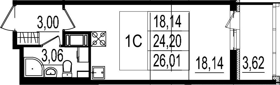 Студия, 24.2 м²