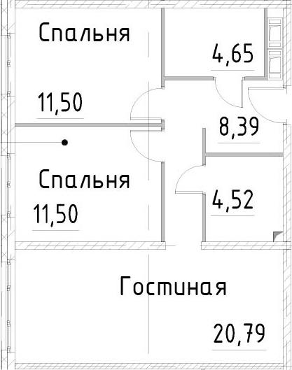 3Е-комнатная, 61.34 м²– 2