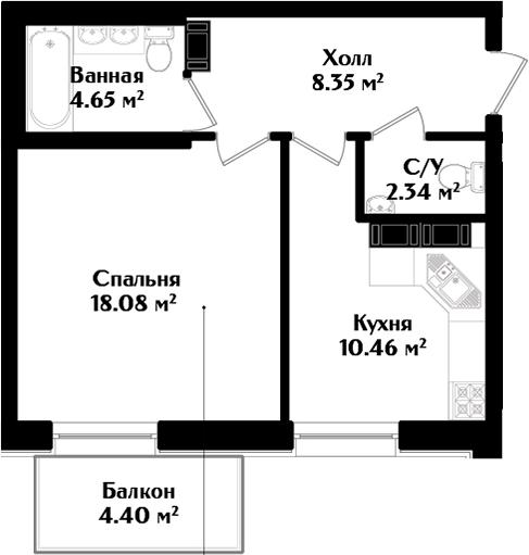 1-к.кв, 48.28 м²