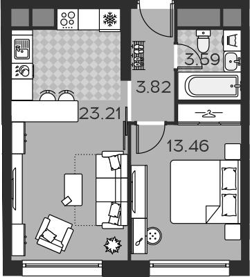 2Е-комнатная квартира, 43.36 м², 2 этаж – Планировка