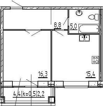 2Е-к.кв, 47.7 м², 8 этаж