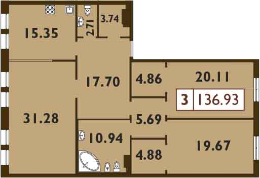 4Е-к.кв, 136.93 м²