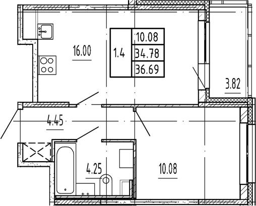 2Е-комнатная, 34.78 м²– 2