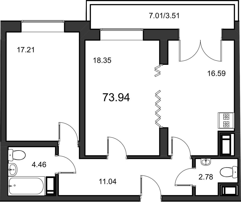 2-к.кв, 74.3 м²
