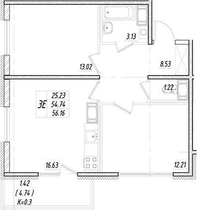 3Е-к.кв, 54.74 м²