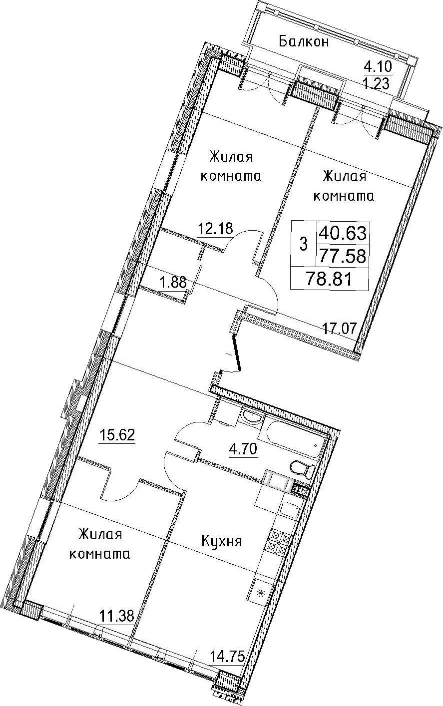 3-к.кв, 78.81 м²