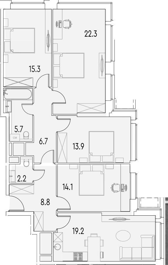 4-к.кв, 108.2 м²