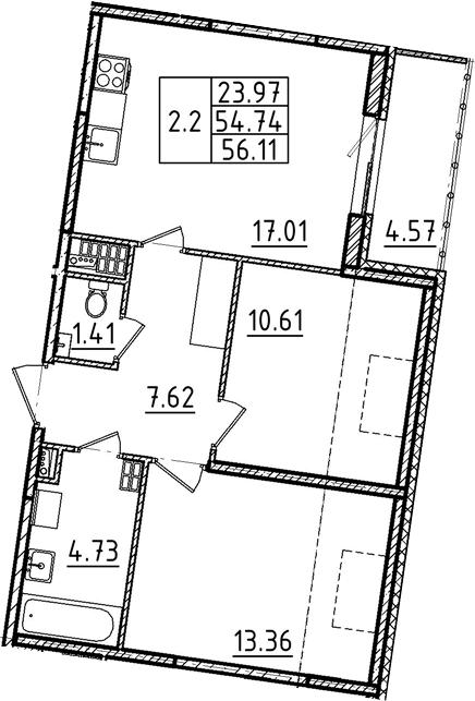 3Е-к.кв, 56.11 м²
