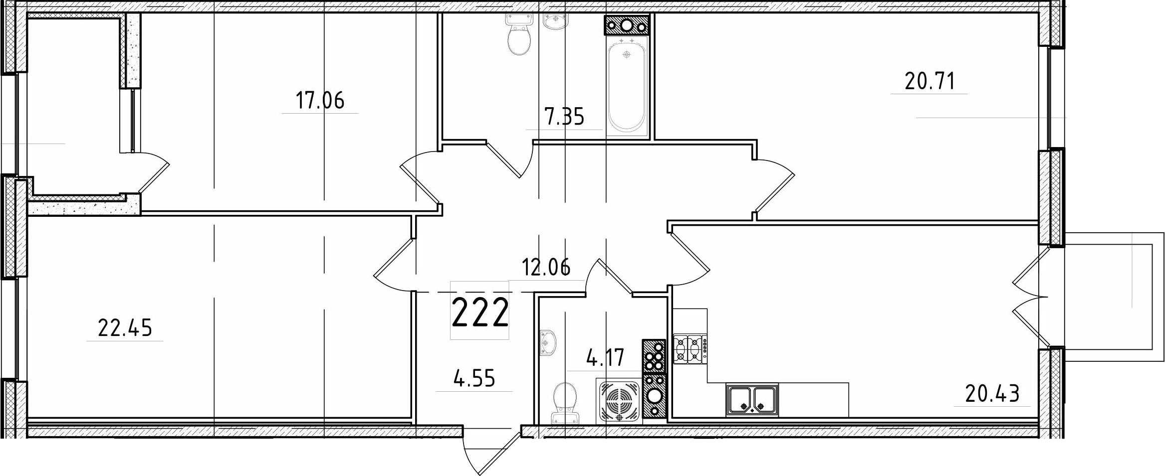 4Е-к.кв, 111.97 м², 6 этаж