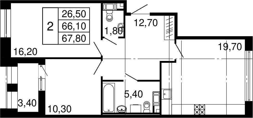 3Е-к.кв, 66.1 м², 6 этаж