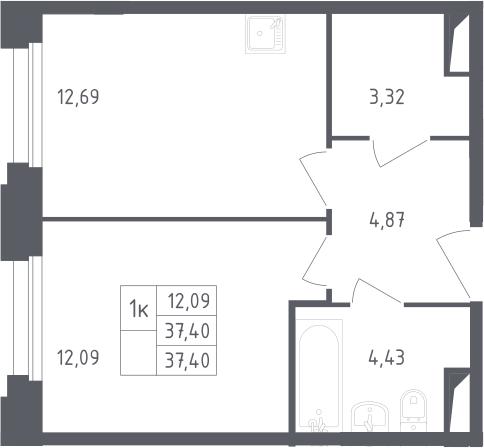 1-комнатная, 37.4 м²– 2