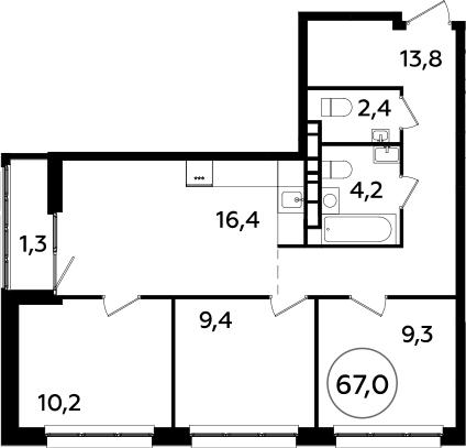 4Е-к.кв, 67 м²