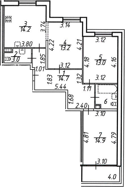 3-к.кв, 78.4 м²