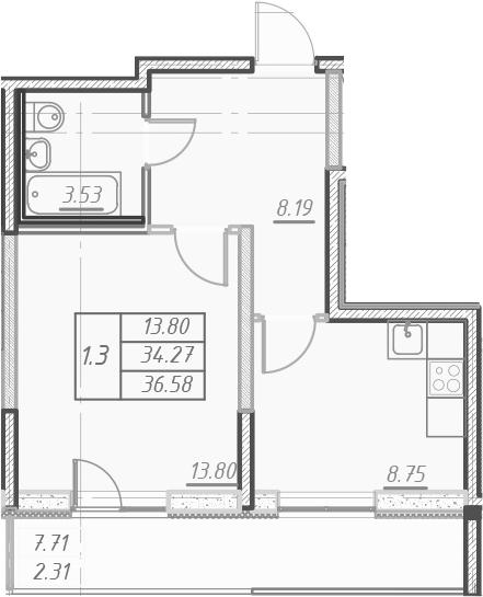 1-к.кв, 41.97 м²