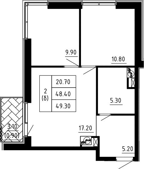 2-к.кв, 49.3 м²