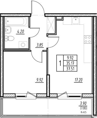 2-комнатная квартира (евро), 42.97 м², 2 этаж – Планировка