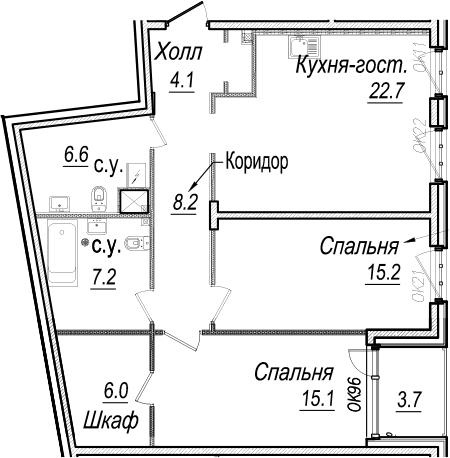 3Е-к.кв, 86.9 м², 3 этаж