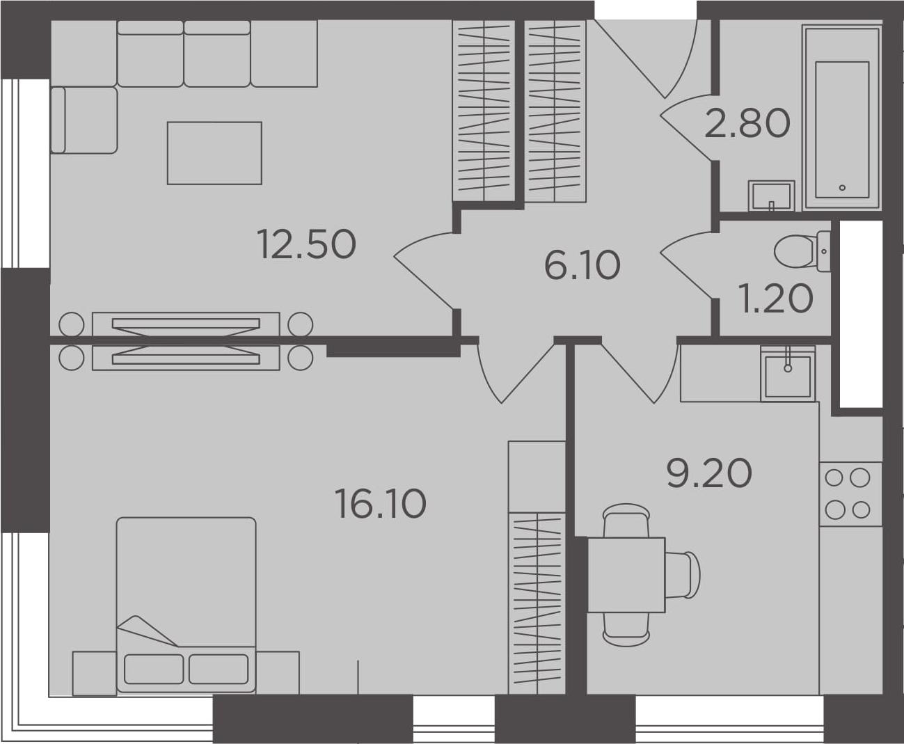 2-к.кв, 47.9 м²
