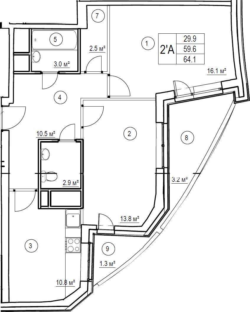2-комнатная, 64.1 м²– 2