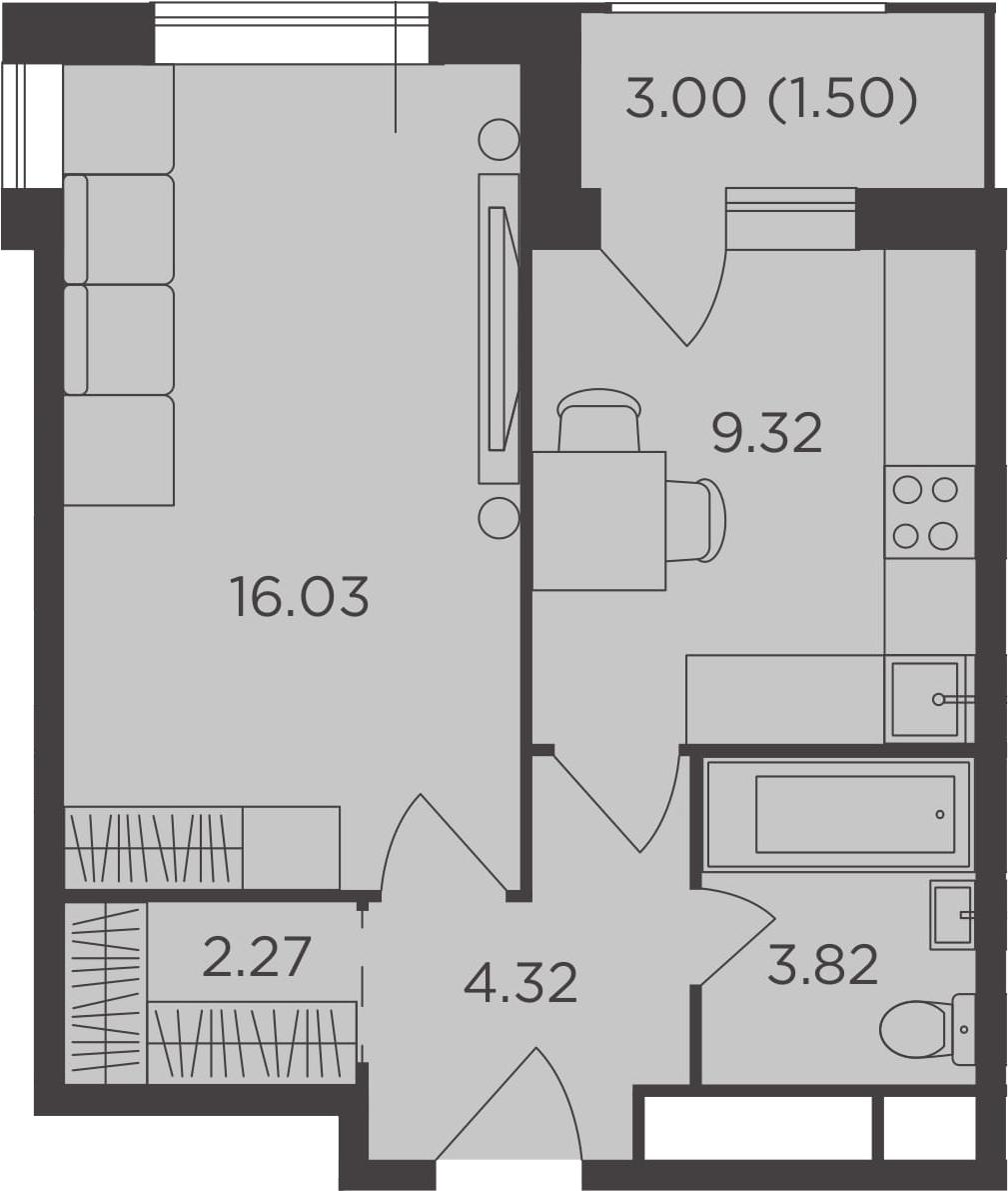 1-к.кв, 37.26 м², от 23 этажа