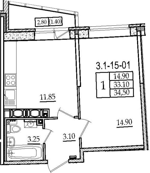1-к.кв, 34.5 м², 15 этаж