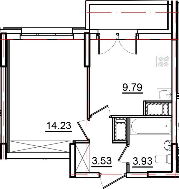 1-комнатная, 33.06 м²– 2