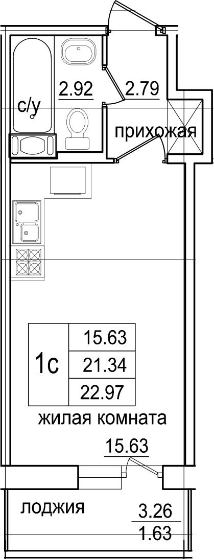Студия, 22.97 м², 7 этаж