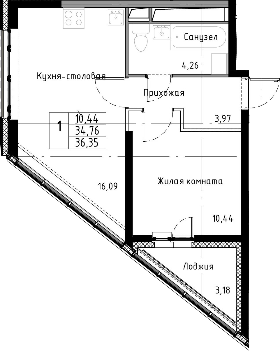 2-к.кв (евро), 37.94 м²