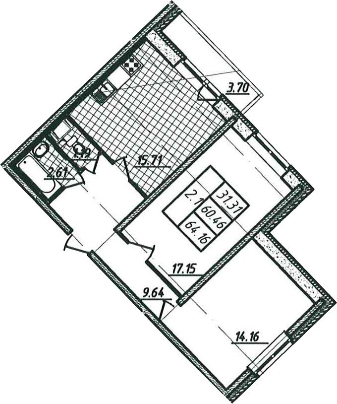 2-к.кв, 64.16 м²