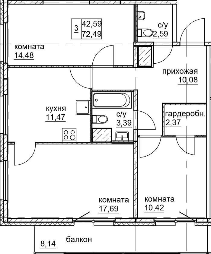 3-к.кв, 72.49 м²