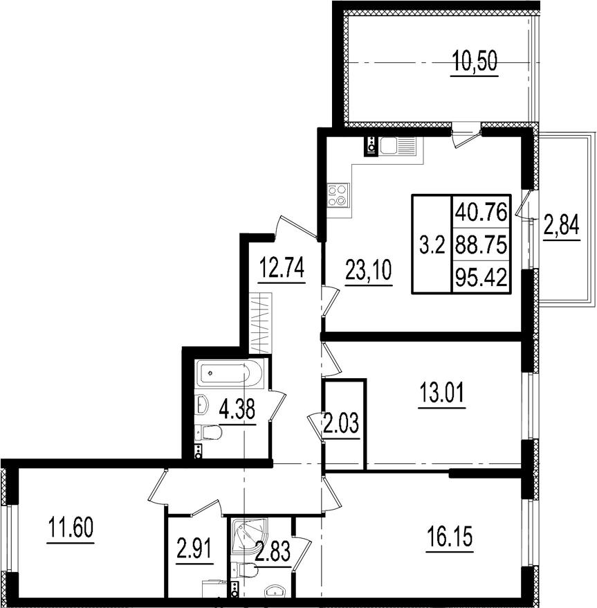 4Е-комнатная, 88.75 м²– 2