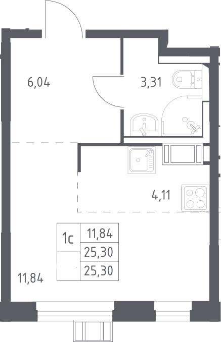 Студия, 25.3 м²– 2