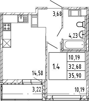 2Е-к.кв, 32.68 м², от 7 этажа
