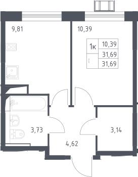 1-к.кв, 31.69 м²