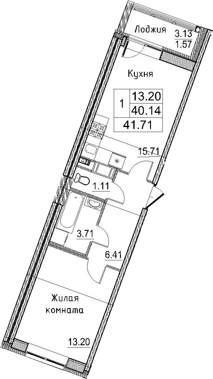 2-к.кв (евро), 43.28 м²