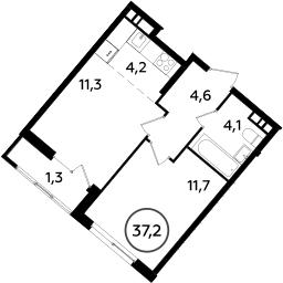 2Е-комнатная, 37.2 м²– 2