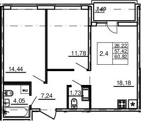 3Е-комнатная, 57.42 м²– 2