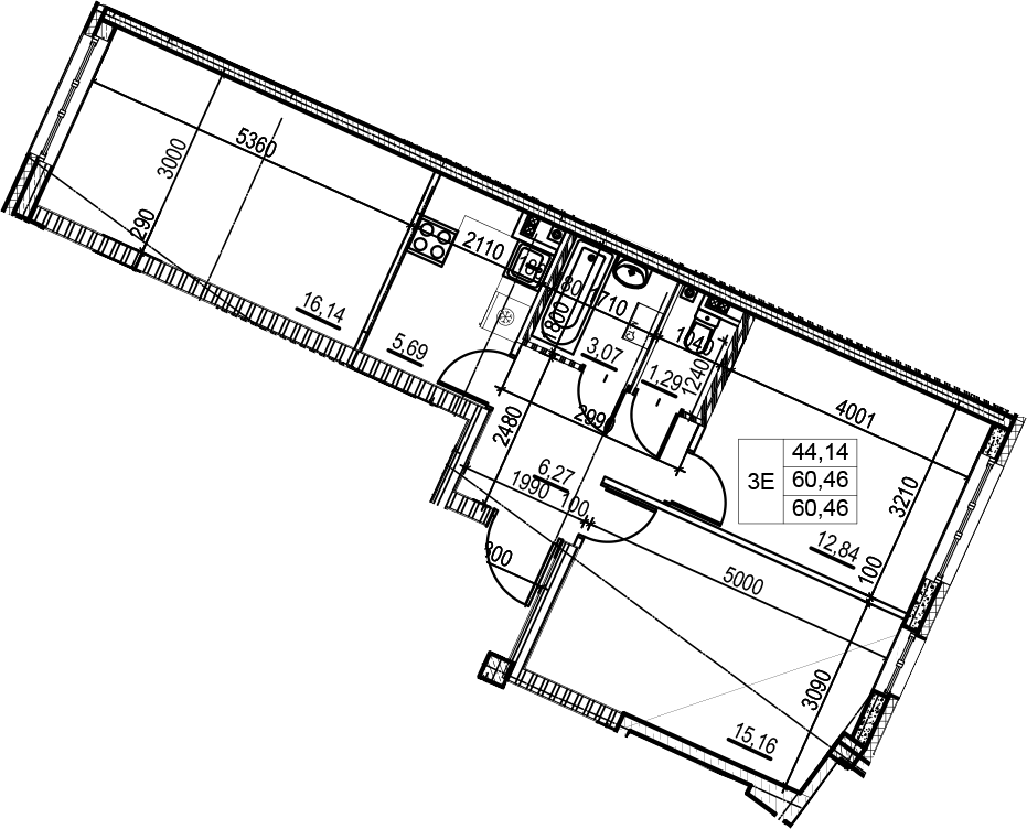 3Е-к.кв, 60.46 м²