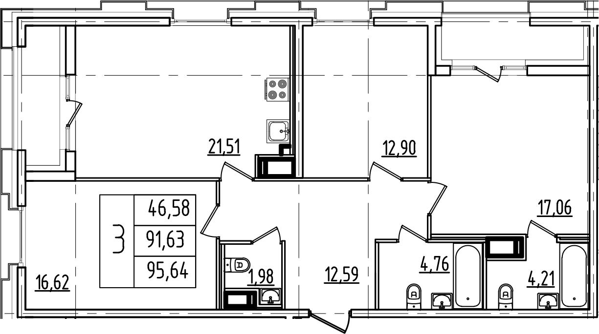 4Е-комнатная, 95.64 м²– 2