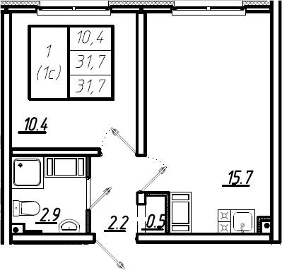 2Е-комнатная, 31.7 м²– 2