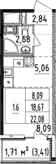 Студия, 18.67 м²