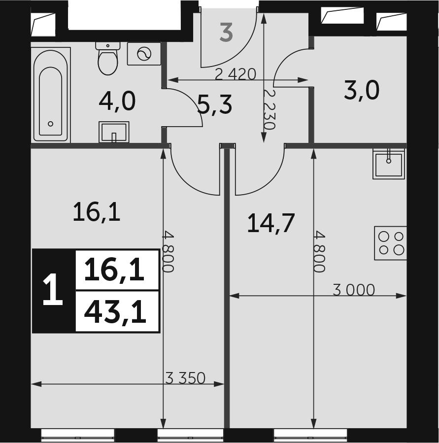 1-к.кв, 43.1 м², от 31 этажа